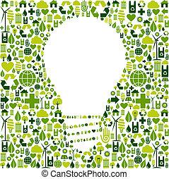 iconen, licht, symbool, groene achtergrond, bol