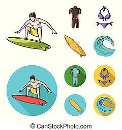 iconen, liggen, stijl, surfing, bikini, symbool, spotprent, web., illustratie, surfboard., surfer, set, verzameling, vector, plat, duikerspak