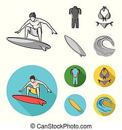 iconen, liggen, stijl, surfing, bikini, symbool, web., monochroom, illustratie, surfboard., surfer, set, verzameling, vector, plat, duikerspak