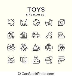 iconen, lijn, set, speelgoed