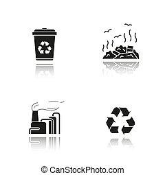 iconen, management, black , afval, schaduw, set, druppel