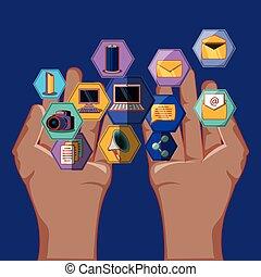 iconen, media, handen, apps, vorm, sociaal, zeshoek