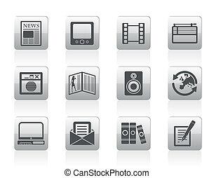 iconen, media, informatie