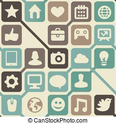 iconen, media, seamless, vector, sociaal, model