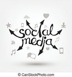 iconen, media, sociaal, pijl, hand, tekst, getrokken, design.
