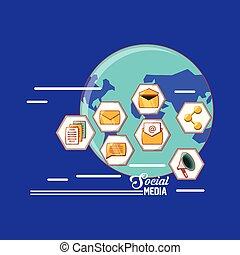 iconen, media, sociaal, vorm, communicatie, wereld, zeshoek, technologie