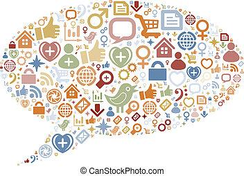 iconen, media, textuur, vorm, sociaal, bel, praatje