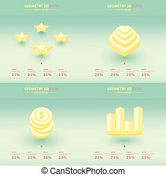 iconen, meetkunde, abstract, infographic, 3d, design.