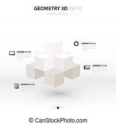 iconen, meetkunde, abstract, kleur, infographic, ontwerp, witte , style., 3d