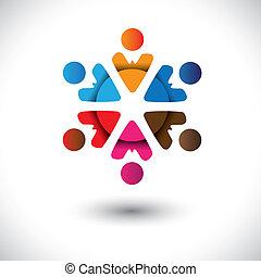 iconen, mensen, abstract, circle-, veelkleurig, vector, ...