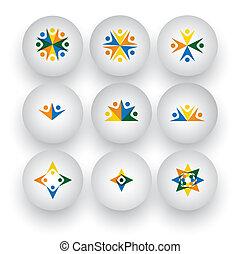 iconen, mensen, eenheid, vector, gemeenschap, spelende kinderen, vrolijke