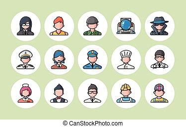 iconen, mensen, set, beroepen, eps10