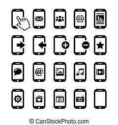 iconen, mobiele telefoon, smartphone, set