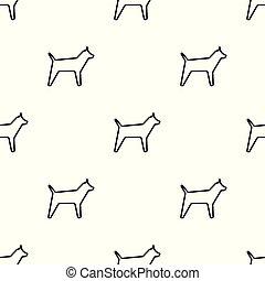 iconen, model, dog, seamless, achtergrond, witte