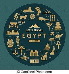 iconen, model, gezichten, egypt., symbolen, thema, ontwerp, gevulde, circulaire