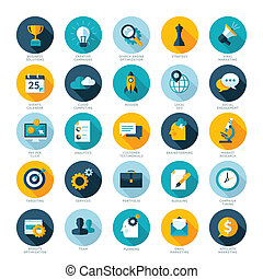 iconen, moderne, vastgesteld ontwerp, plat