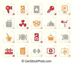 iconen, motel, hotel, stylized, 2, diensten