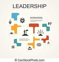 iconen, motivatie, teamwork, template., communicatie, bewindvoering, infographic, eenvoudig, lijn, verantwoordelijkheidsgevoel, tien