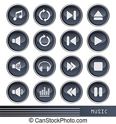 iconen, muziek, set