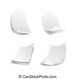 iconen, papier, vector, witte pagina's, 3d