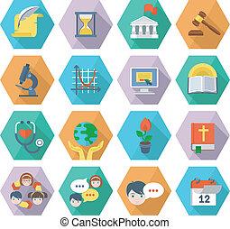 iconen, plat, moderne, opleiding