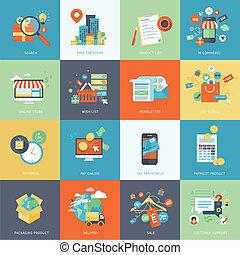 iconen, plat, online boodschapend doend