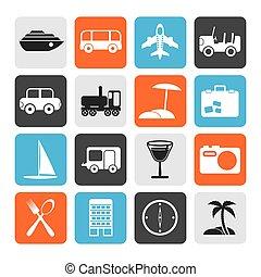 iconen, plat, reizen toerisme