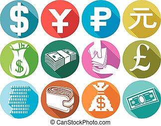 iconen, plat, set, geld