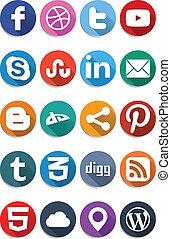 iconen, plat, sociaal, 1.0