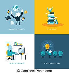 iconen, plat, zakelijk, ontwerp