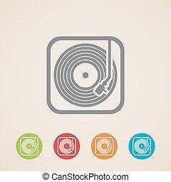 iconen, record., speler, registreren, vinyl, vector
