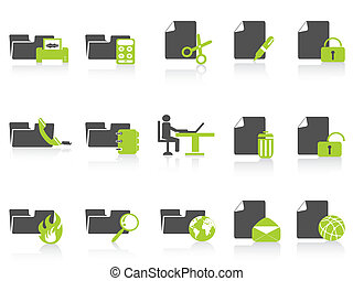 iconen, reeks, map, document, groene