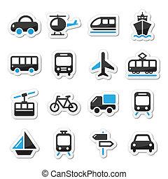 iconen, reizen, vervoeren, set, vector