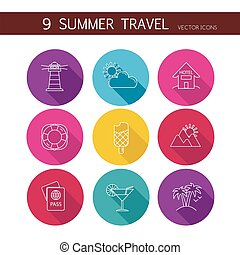 iconen, reizen, zomer, set, vector.
