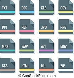 iconen, s, ontwerp, bestand, formaten, minimaal