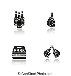 iconen, schaduw, black , bier, set, druppel
