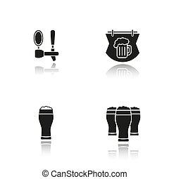 iconen, schaduw, black , bier, set, kroeg, druppel