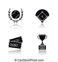 iconen, schaduw, black , kampioenschap, set, honkbal, ...