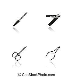 iconen, schaduw, black , manicure, druppel