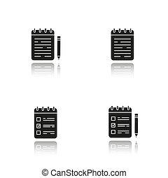 iconen, schaduw, black , set, notepads, druppel