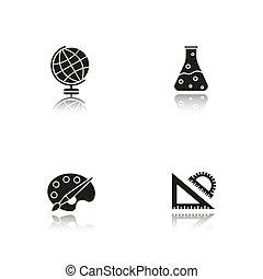 iconen, schaduw, black , set, opleiding, druppel