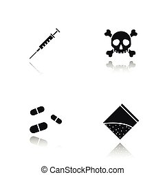 iconen, schaduw, drugs, black , set, druppel