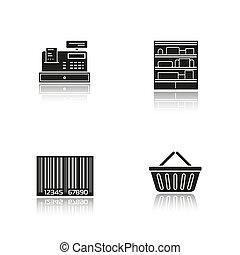 iconen, schaduw, supermarkt, black , set, druppel