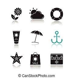 iconen, schaduw, zomer, black , set, druppel