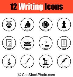 iconen, schrijver, set