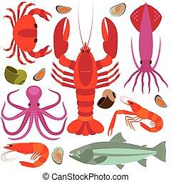 iconen, seafood, vector, illustration., set.