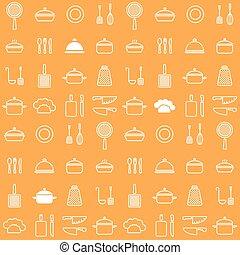 iconen, seamless, achtergrond, sinaasappel, lijn, keuken