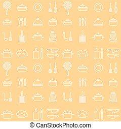 iconen, seamless, gele, cookware, achtergrond, lijn, keuken