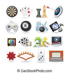 iconen, set, amusement