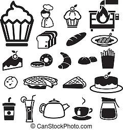 iconen, set, bakkerij